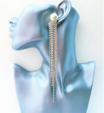 Long Diamante Dangle Drop Earrings with Crystal Tassels and Large Faux Pearl