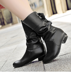 Womens Mid Calf Boots Block Low Heel Ridding Party Shoes Pull On Chelsea Boots