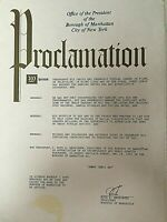 """JERRY LEWIS' PERSONALLY OWNED  1995 """"JERRY LEWIS DAY"""" NEW YORK CITY PROCLAMATION"""