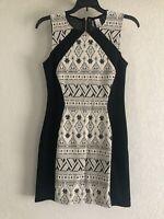 H&M DIVIDED BLACK & WHITE NATIVE PRINT DRESS SLEEVELESS SUMMER SPRING DRESS SZ 6