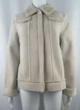Lord & Taylor Winter Blossom Jacket Womens M Faux Suede Shearling Beige NWT