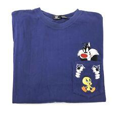 Vintage 90s Looney Tunes Sylvester Tweety Bird Pocket T Shirt Adult Large