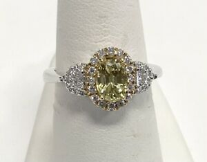 Estate 18kt Yellow And White Gold Yellow Sapphire And Diamond Ring 6 Grams