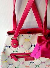 Betsey Johnson Convertible Tote Handbag Hot Pink Bows Yellow Blue Purple Purse