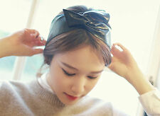 Women Girls Metallic wet leather look Black Rock wire Bunny Bow Hair Head band