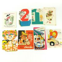 Lot Vintage Used Greeting Cards Happy Birthday Cat Duck Donkey Get Well  A7