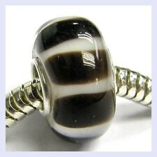 Brown White Stripe Glass with Sterling Silver Bead for European Charm Bracelet
