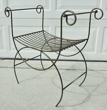 Antique/Vtg Hollywood Regency Mid Century Metal Iron Vanity Bench Chair Stool