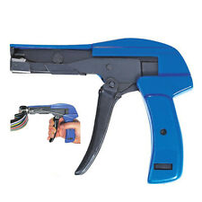 Heavy Duty Cable Zip Ties Automatic Cut Off Gun Tool Set Tension Fastening Blue
