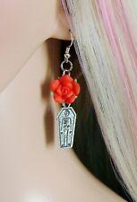 COFFIN EARRINGS Red Rose Earrings Gothic Earrings S Silver Ear Hooks Handmade
