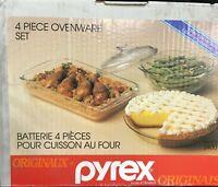 Vintage Pyrex 4pc Clear Glass Cookware Set Pie Dish-Oblong Dish-Casserole Dish