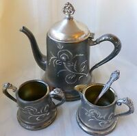 ANTIQUE ROGERS SILVER-PLATE TEA SET 3 PIECE SMALL SIZE ETCHED DESIGN