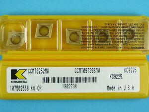10 Kennametal CCMT 09T308MW - Grade KC9225 CNC Lathe Carbide Turning Inserts