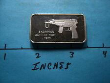 SKORPION MACHINE 1960 PISTOL GUN SILVER BAR LINCOLN MINT FAMOUS WEAPONS WORLD