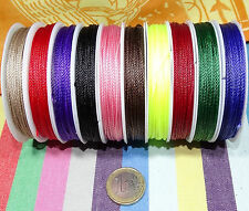 10 Carretes Hilo de Seda Encerado 1mm 10 Colores Variados Satin Cord Waxed