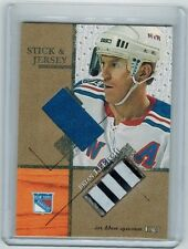 2003-04 ITG USED SIGNATURE SERIES BRIAN LEETCH SJ-30 GOLD STICK & JERSEY /10