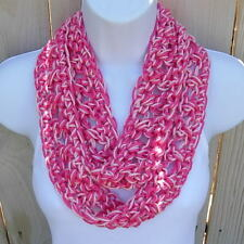 SUMMER SCARF Infinity Loop Light & Hot Pink Small Skinny Lightweight Circle Cowl