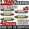 5x 42mm 264 C5W SV8.5 6000k BRIGHT WHITE 3 SMD LED FESTOON LIGHT BULB ERROR FREE