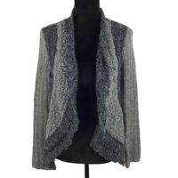 Chico's Women's Gray Draped Knit Open Front Cardigan Sweater Size 1 /M / 8