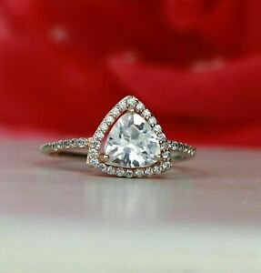 Diamond 2.00ct Trillion Cut VVS/1/D Halo Engagement Ring 14k Rose Gold Finish