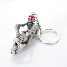 Skeleton Riding Motorbike Moulded Plastic Keyring