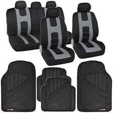 Black Front & Rear Complete Set Gray Car Seat Covers +Motor Trend FlexTough Mats