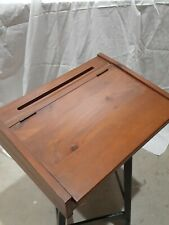 Vintage Wooden Lap Desk portable writing box hinged compartments