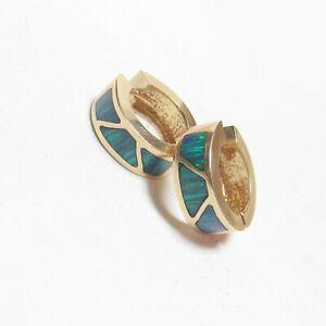 Heavy Estate 14K Yellow Gold Rich Green Blue Opal Inlay Huggie Earrings