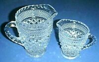 WEXFORD pattern Glass - Syrup or Juice Pitcher AND Milk or Cream Pitcher Set