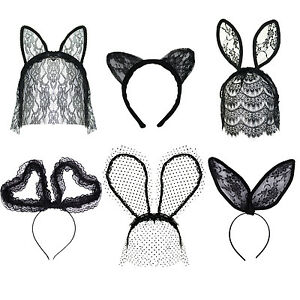 Womens Halloween / Hen Party / Fancy Dress Lace Veil Headbands. Cat Bunny etc