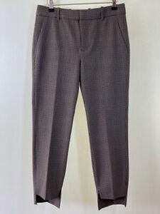 BNWOT ZARA Woman brown check checked asymmetric hem slim leg trousers size 8