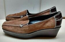 Donald J. Pliner Italian Brown Suede Slip On Loafer Wedge Casual Women Shoes 11M