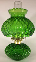 New Complete Dark Green Glass Diamond Quilted Oil Lamp With Shade,Chimney,Burner