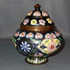 Chinese Canton Enamel BLACK Hand Painted Urn Box Tea Caddy Incense Ginger Jar