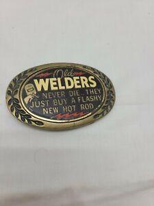 """Vintage """"Old Welder"""" (Heritage Buckles) Belt Buckle, Solid Brass,"""