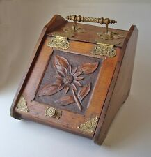 EXCEPTIONAL VICTORIAN 1800'S HEAVY BRASS ORNEMENTATION COAL SCUTTLE BOX
