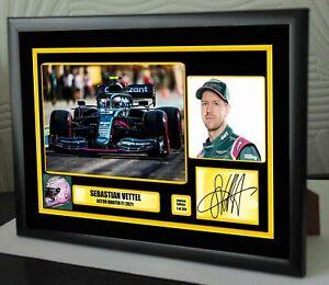 """Sebastian Vettel Aston Martin F1 2021 framed Canvas Signed Print  """"Great Gift"""""""