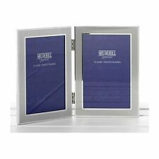 "Satin Silver Colour Twin 2 Picture Folding Photo Frame Gift for Two 5"" x 3.5"""
