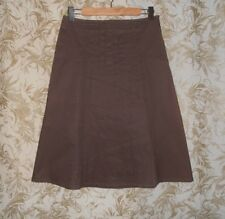 JACQUI E Sz 8 taupe brown stretch cotton tuck pleat A line Skirt As New