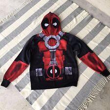 Medium Marvel Deadpool Hoodie Jacket Full Zip Up Mask Hood