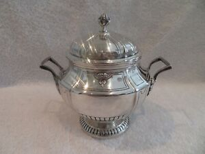 1900 french sterling silver large sugar bowl Louis XIV st Harleux