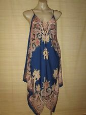 Beautiful Summer Blue Paisley Print resort scarf Dress  onesize 10-16 best