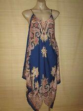 Beautiful Summer Blue Paisley Print resort scarf Dress  onesize 10-16 best