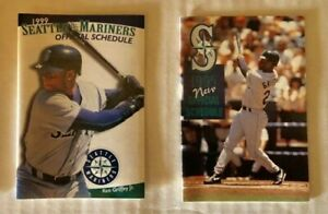 KEN GRIFFEY, JR - SEATTLE MARINERS  POCKET SCHEDULES LOT OF 2 1995 and 1999