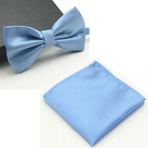 Men's Bowtie Handkerchief Grid Checks Pocket Square Bow Tie Set Wedding Party