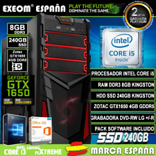 Ordenador Gaming Pc Sobremesa Intel i5 8GB DDR3 SSD 240Gb Zotac GTX1650 4Gb DDR5