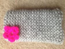 Hand knitted Mobile phone sock/cover/case grey /pink flower detail