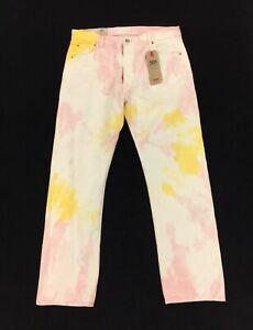 NEW Levi's Strauss 501 '93 Straight Tie Dye Multi-Color Mens Denim Jeans Pink