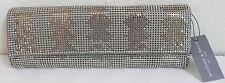 Whiting & Davis Zig Long Clutch Evening Bag Pewter Metallic Mesh NWT