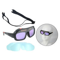Solar Auto Darkening Welding Goggles Adjustable Glasses Anti Fog Lens +Case